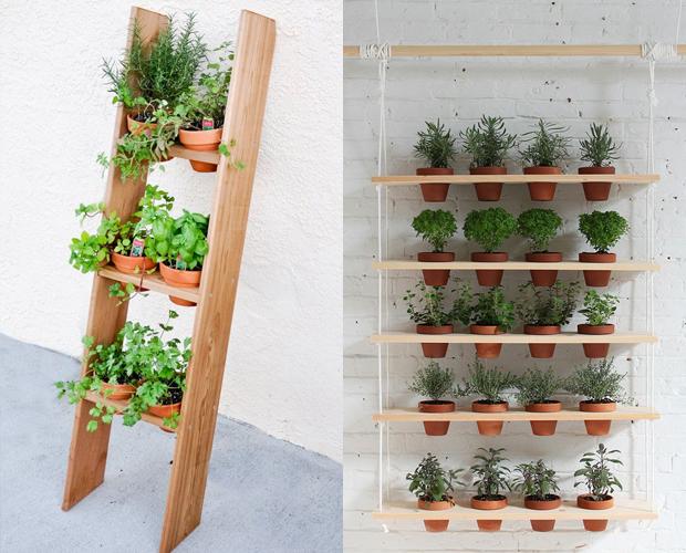 do jardim vertical fica ótimo também, essa escada de madeira dá um